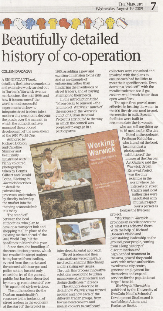 Book review on Working in Warwick, featured in The Mercury on the 19th of August 2009.
