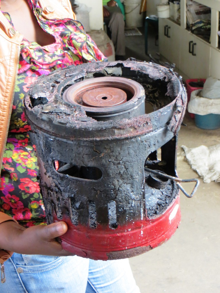 A worn-down paraffin stove used by an informal trader to cook, that could be a potential fire hazard. Image: Richard Dobson.