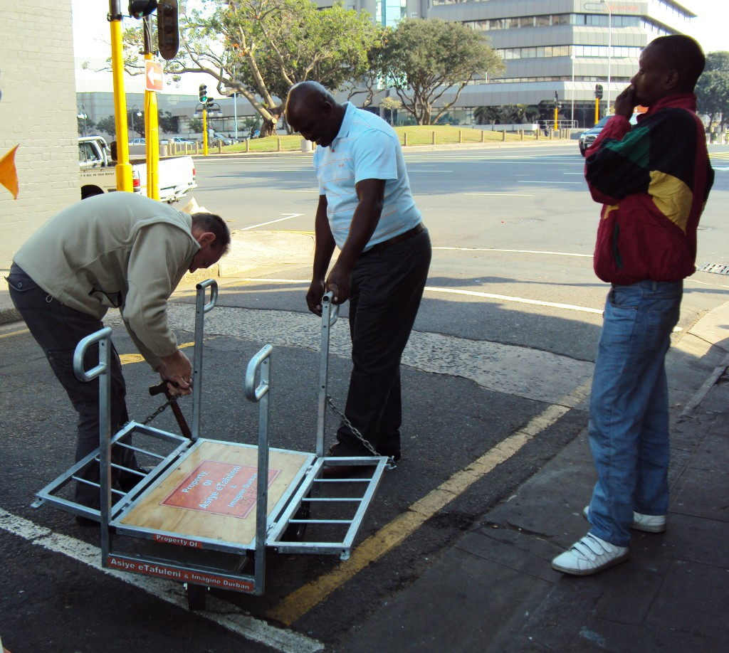 Richard repairing a pilot trolley designed specially for informal cardboard recyclers for AeT's award winning Imagine Durban Cardboard Recycling Project. Photo: Tasmi Quazi.