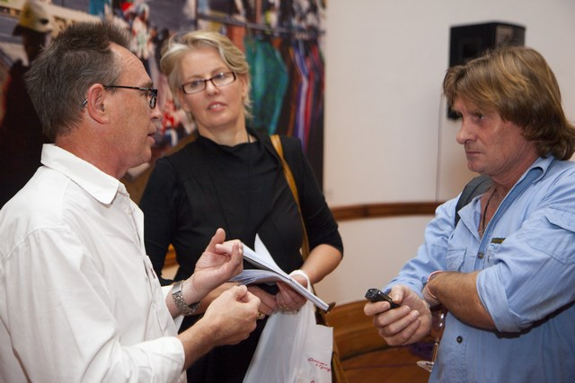 "Richard being interviewed during the launch of the book ""Working in Warwick: Including Street Traders in Urban Plans"" which he co-authored with Caroline Skinner."
