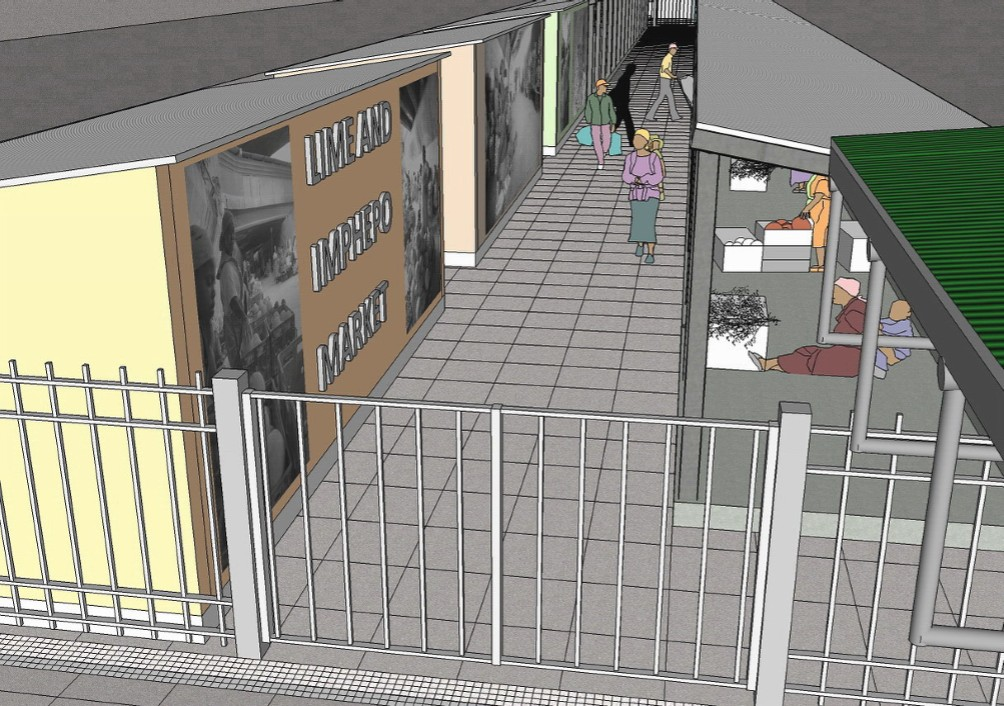 The finalised design proposal for the Lime and Imepepho Market. 3-D image by Merylene Chitharai.