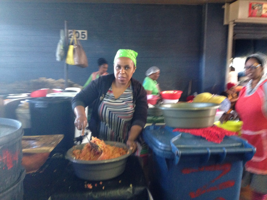 Above: Trader cooking traditional Zulu food