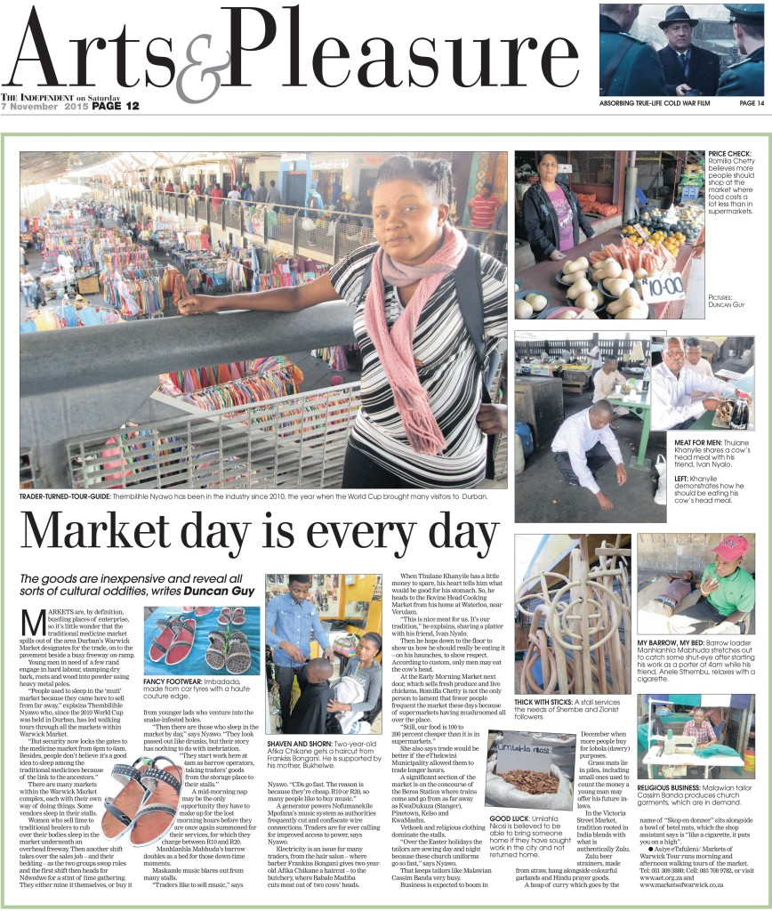 "The Markets of Warwick tour appeared in the ""Arts and Pleasure"" segment of the Independent on Saturday newspaper on 7 November 2015 on page 12."
