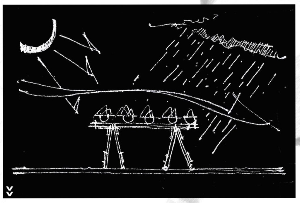 Sketch showing the challenge of needing additional infrastructure to provide protection from the elements, by Mongezi Ncube.