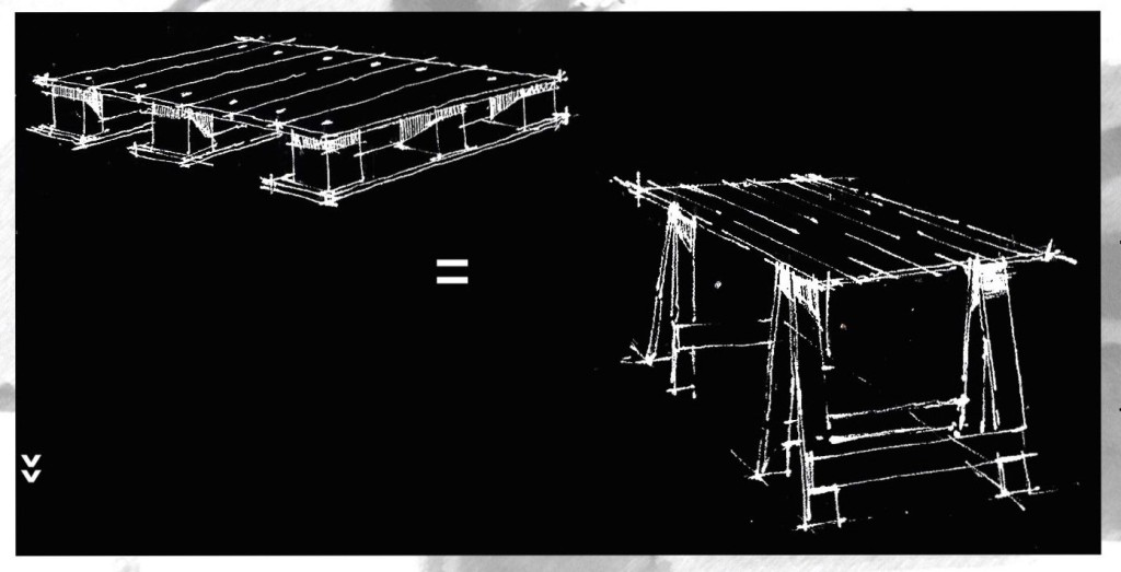 Sketches of traders' trestle tables in Warwick Junction made from appropriated wooden warehouse pallets used in the transport industry, by Mongezi Ncube.
