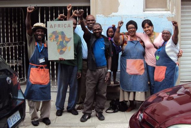 An elated Palmer Street Recycling group on hearing that their Project won a Sustainable Architecture Award. — with Patric BhakaBhaka Ndlovu and Tasmi Quazi.