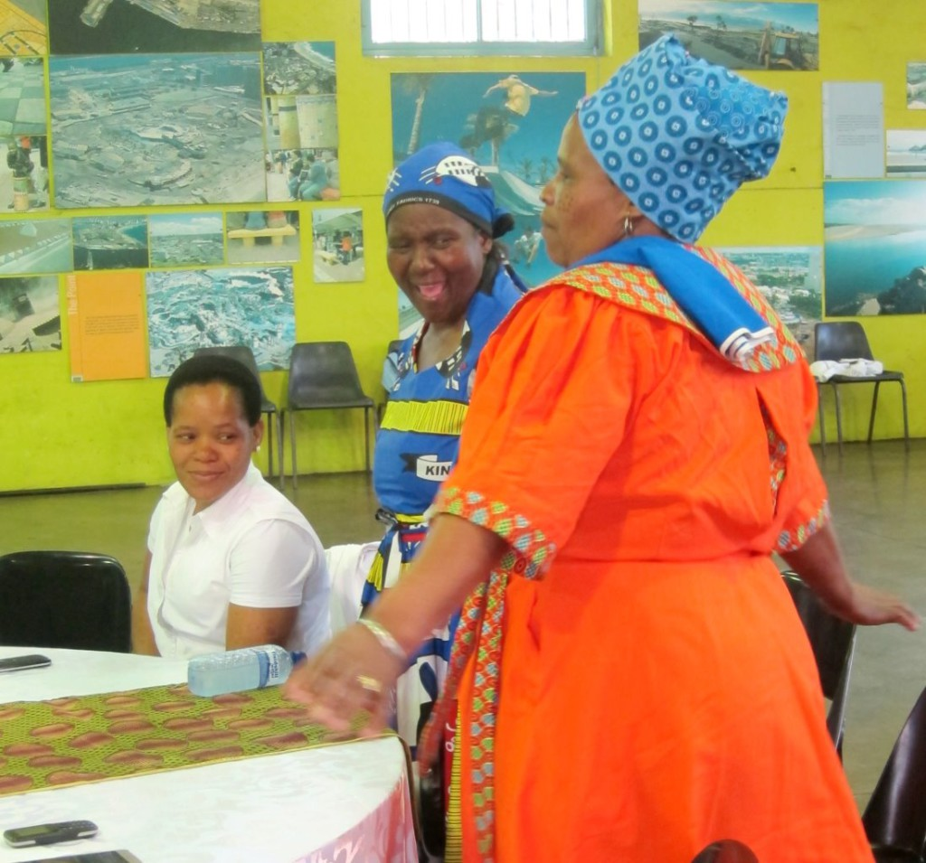Local leaders of the Warwick Junction trading community dressed in cultural attire and on their feet during the musical performances. Photo: Chantal Froneman.